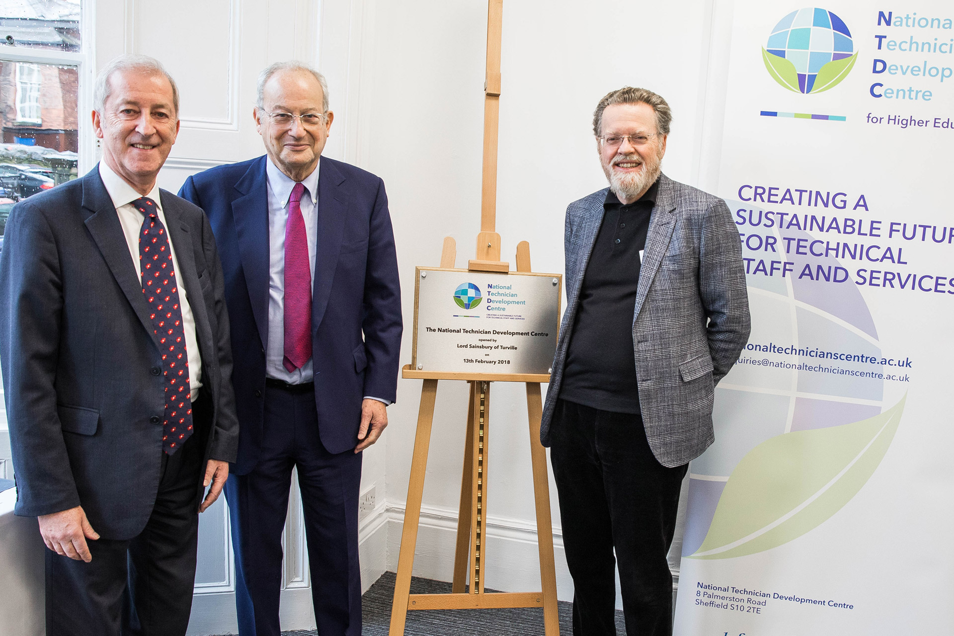 Terry Croft, Lord Sainsbury and Professor Sir Keith Burnett at NTDC opening
