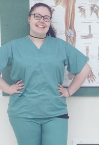 Gina Bond, Dissection Technician in scrubs