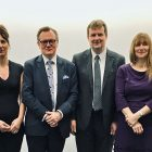 From left to right: Claire McAlinden Operations Director, Natalie Kennerley, NTDC Deputy Director, Professor Ian Greer, QUB Vice Chancellor, Mel Leitch, NTDC Specialist Advisor, Dr Karen Henderson, Director of Technical Services at the University of Reading, Professor Mark Price, QUB Pro Vice Chancellor.